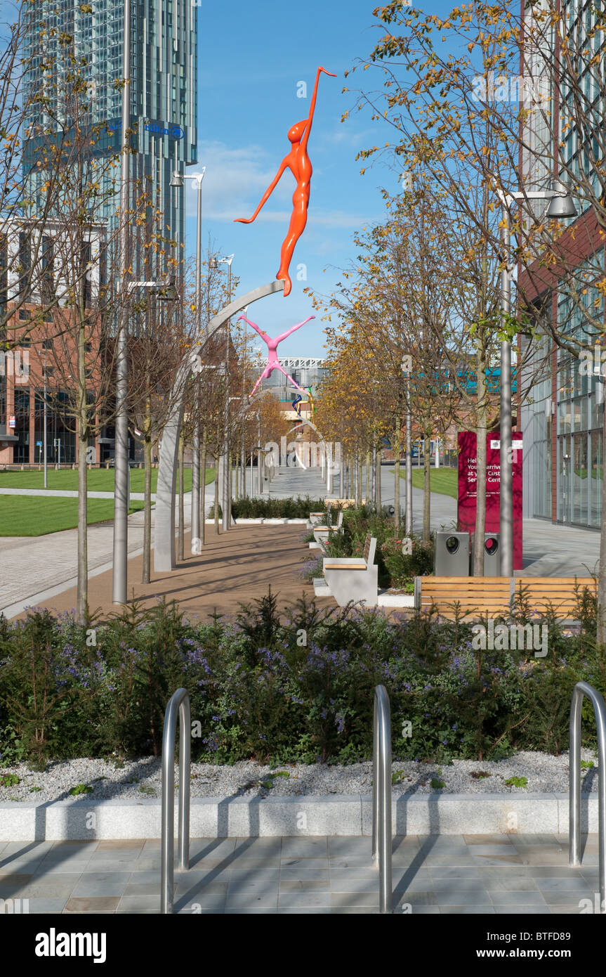 Landscaping by Townsend Landscape Architects at Manchester City Council's new offices,Number One,First Street. Stock Photo