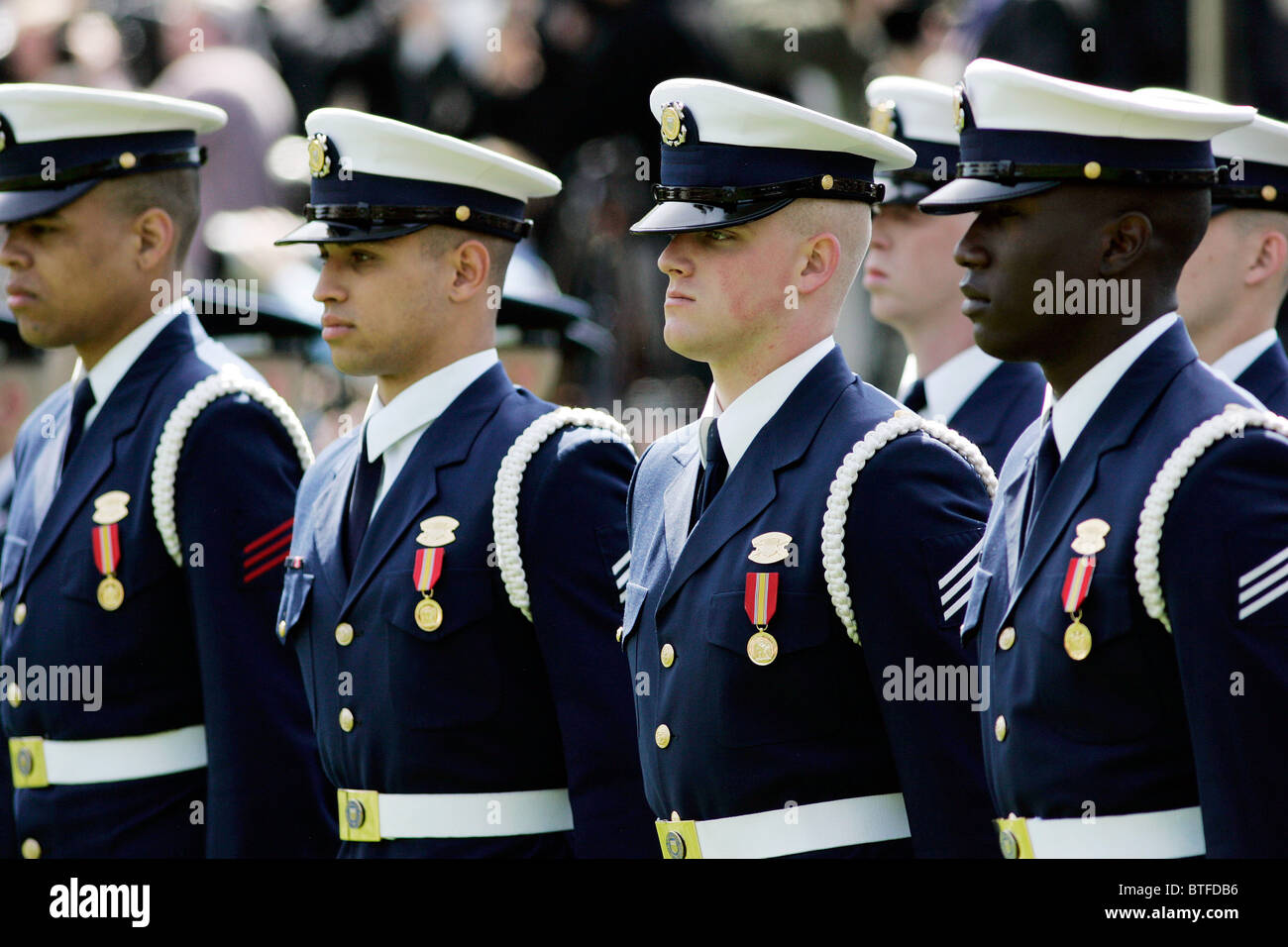 Military officers of the Army, Navy and Airforce form Honor Guard at The White House, Washington DC, USA - Stock Image
