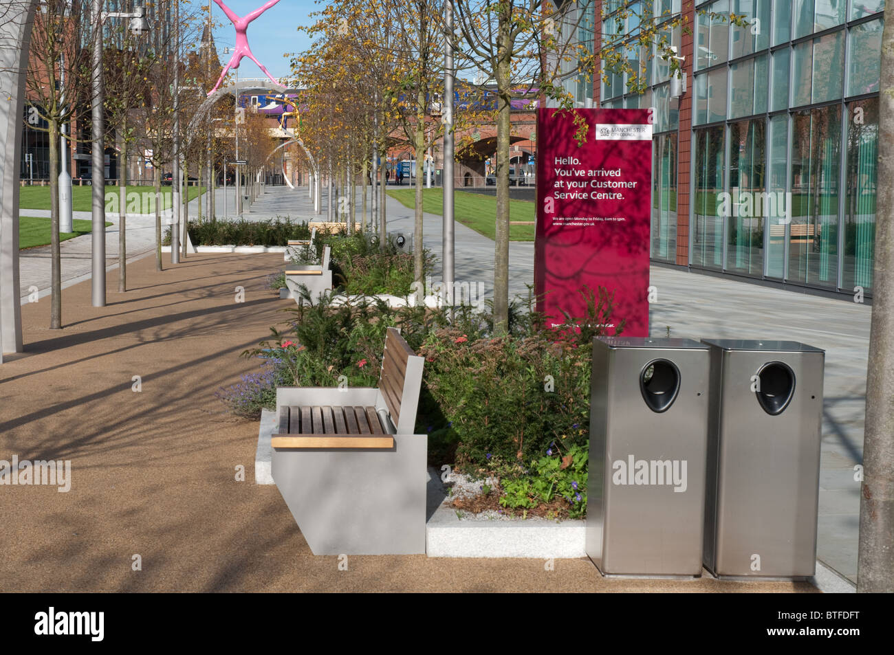 Landscaping by Townsend Landscape Architects at Manchester City Council's new offices,Number One,First Street. - Stock Image