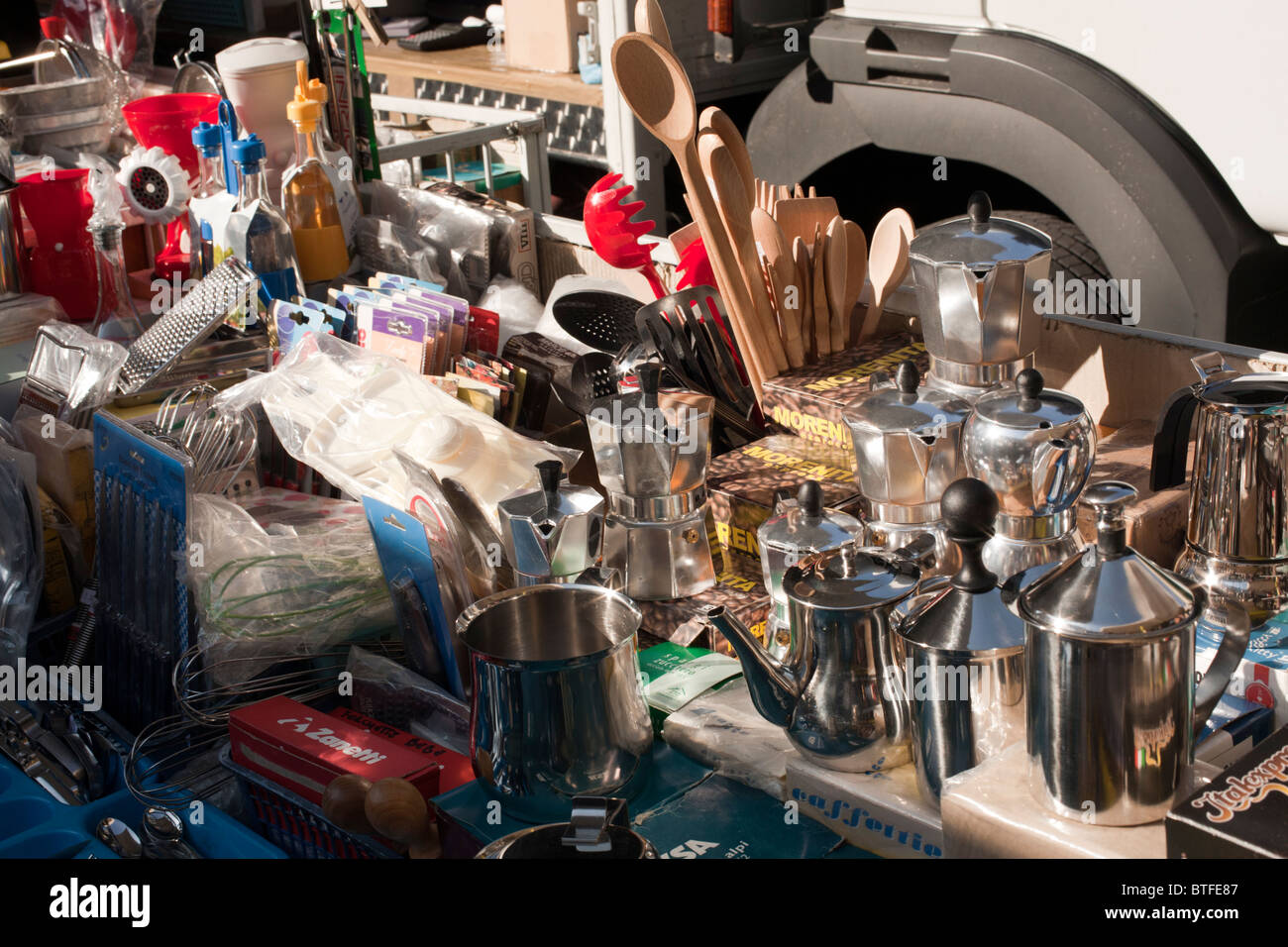 kitchen items in the market, Italy - Stock Image