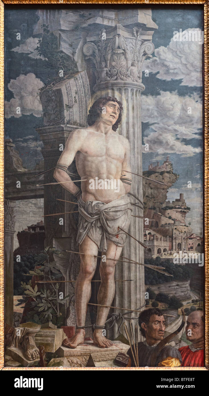The martyrdom of St. Sebastian by Italian painter Andrea MANTEGNA, created in 1480, Louvre Museum Paris - Stock Image
