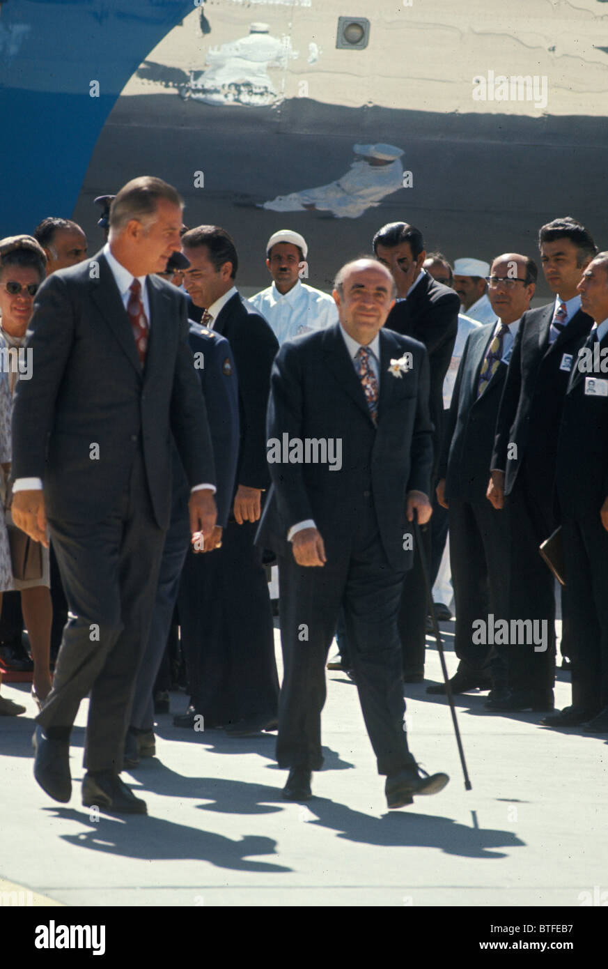 Vice President Spiro Agnew arrives in Persepolis to attend the Shah of Iran's party to celebrate the 2500 anniversary - Stock Image