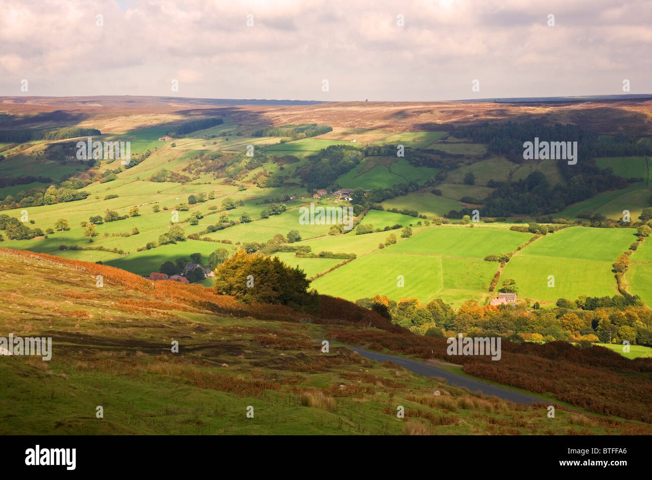 View across The North York Moors from Bank Top at Rosedale North York Moors National Park North Yorkshire UK - Stock Image