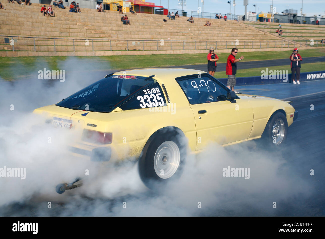 Mazda RX7 Rotary Engined Drag Racing Car Performing A Burnout   Stock Image