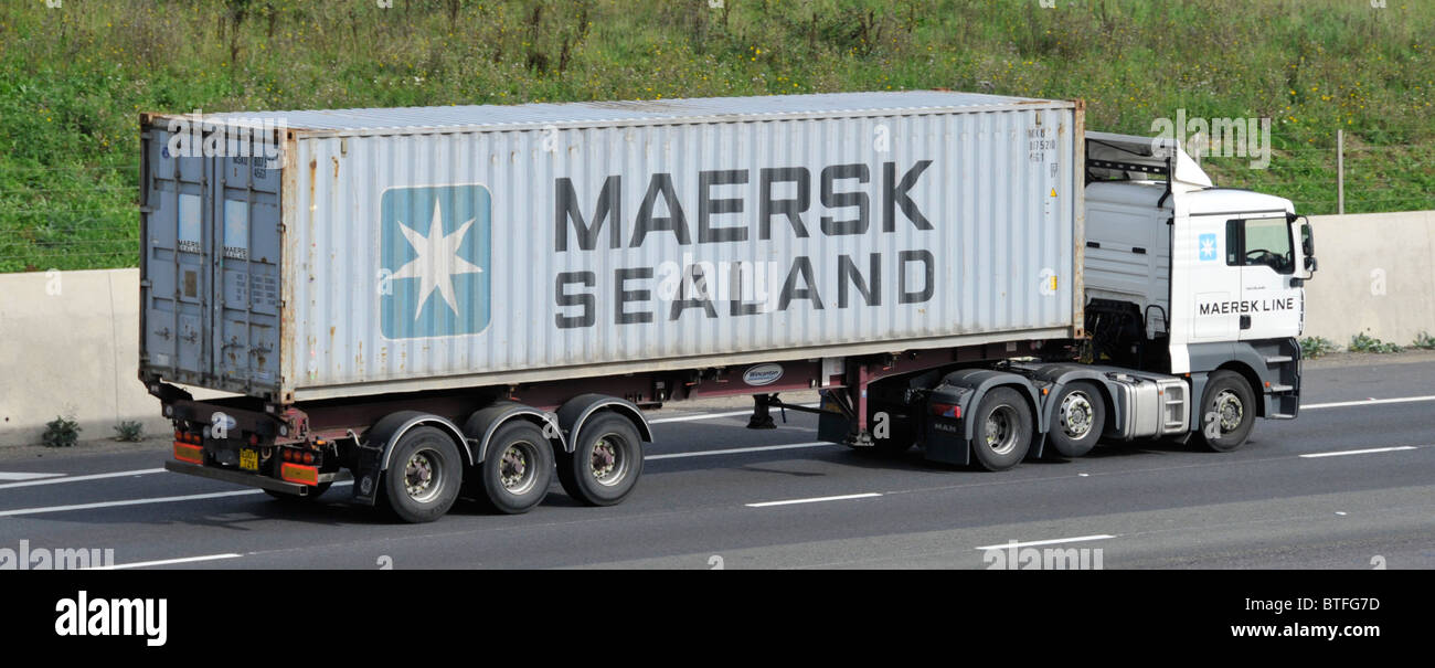 Maersk Sealand container and lorry - Stock Image