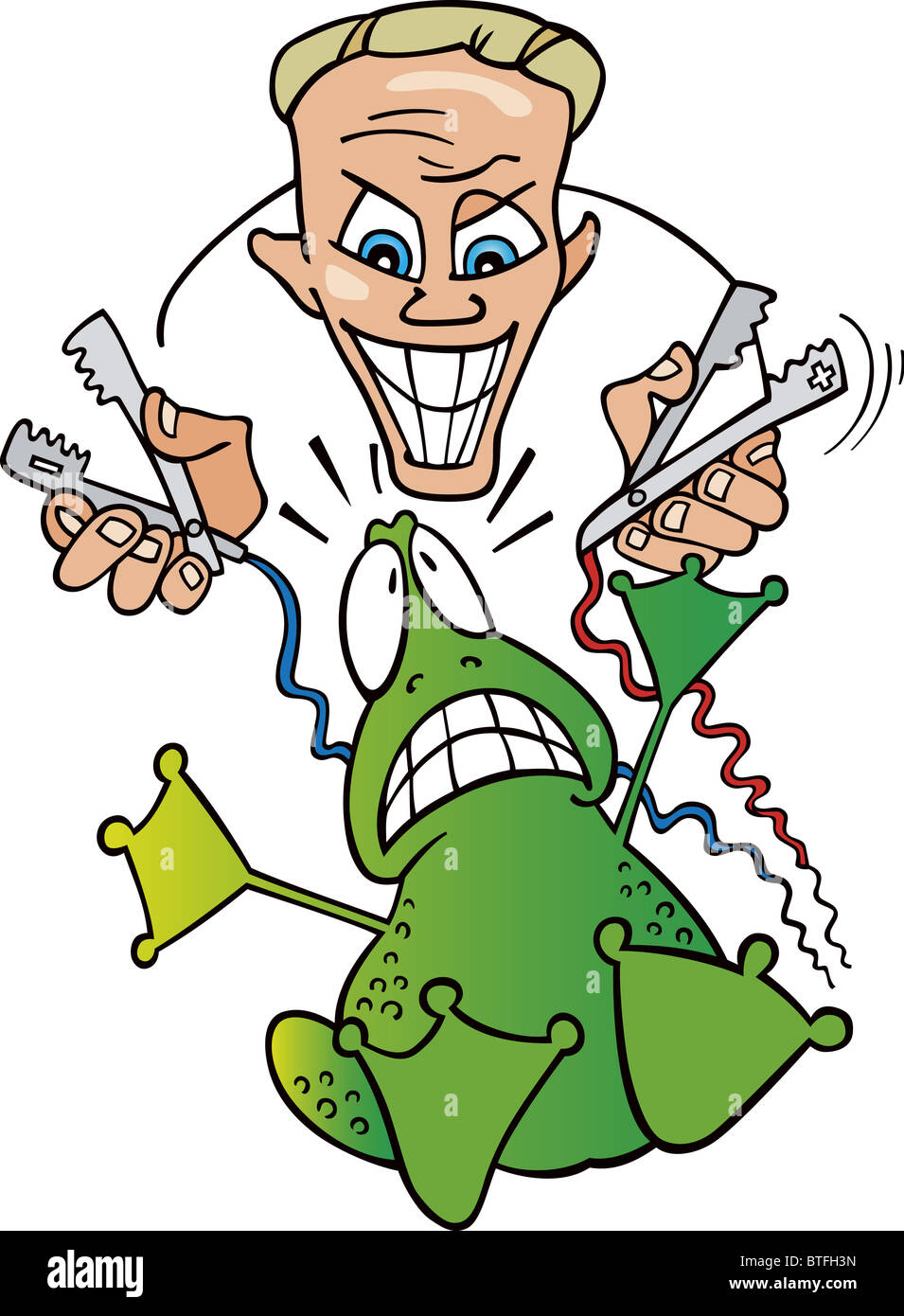 Illustration of crazy scientist and frightened frog Stock Photo