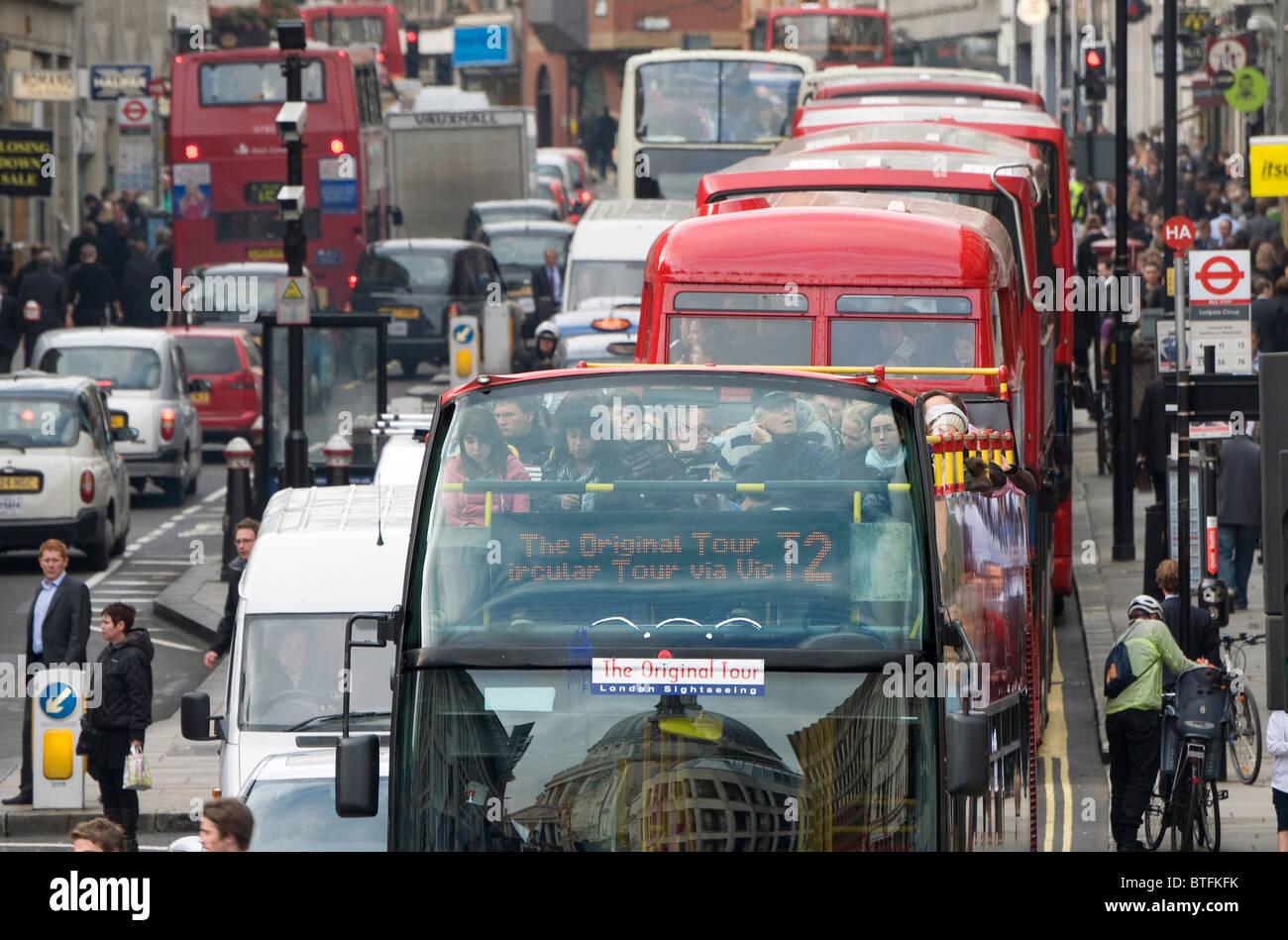heavy traffic congestion, london, england - Stock Image