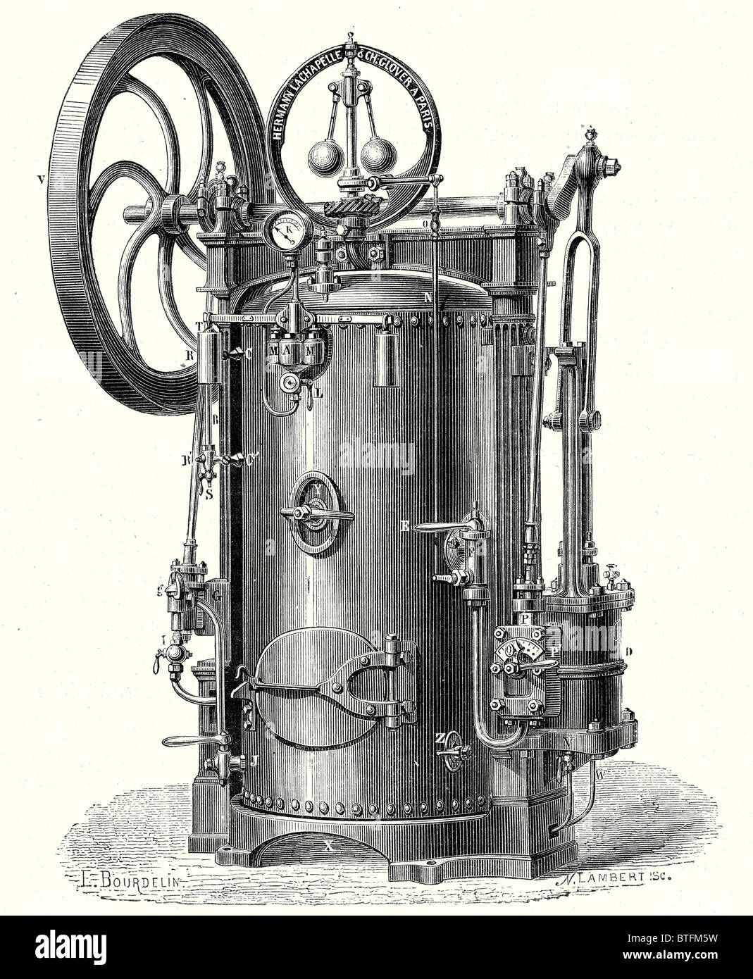 Portable steam engine, or Hermann-Lachapelle's industrial traction engine - Stock Image