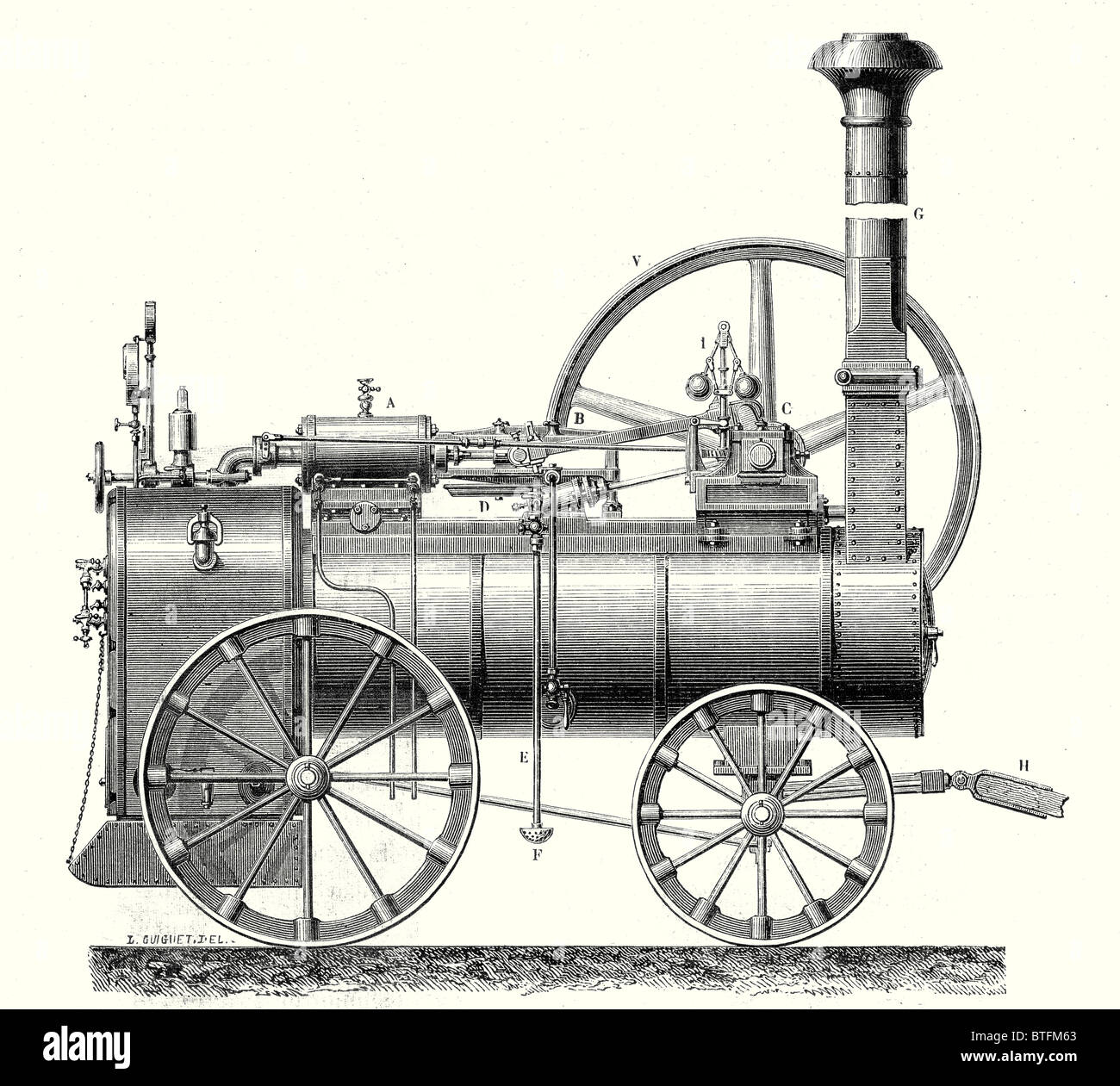 M. Calla's traction engine - Stock Image