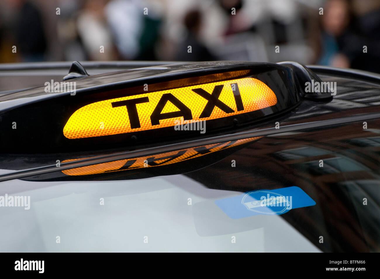 taxi cab sign, london, england Stock Photo