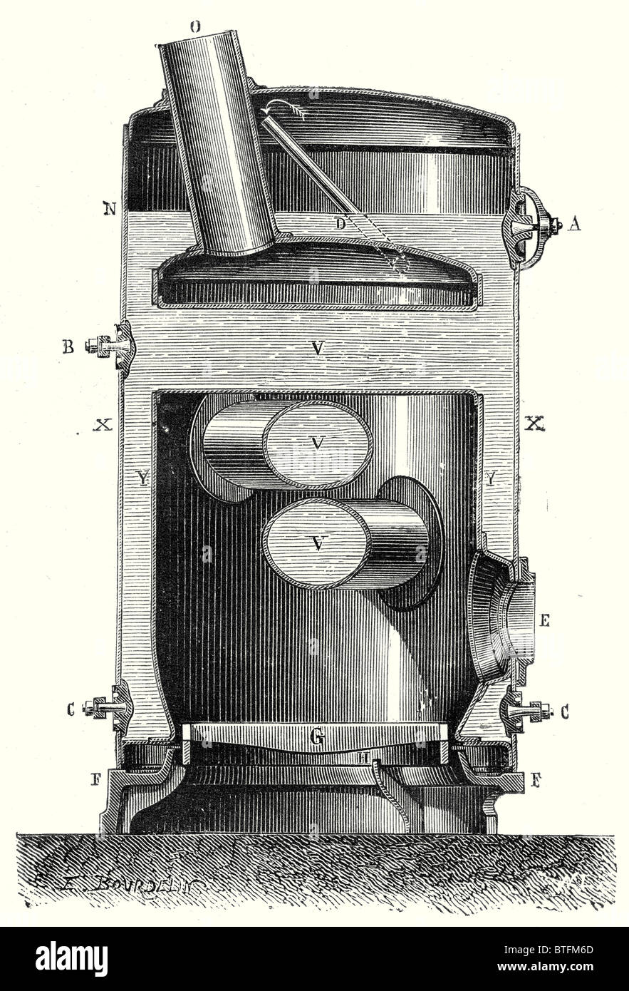 Cross section of the hearth and the crossed boiler reboiler of M. Hermann-Lachapelle's industrial traction engine - Stock Image