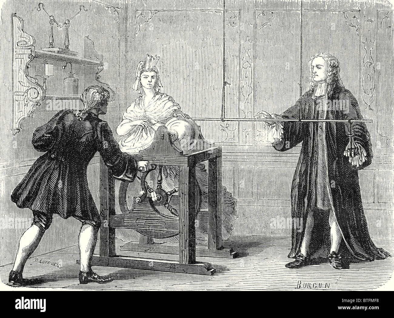 Experiment conducted in Leiden by Musschenbroek on 20 April 1746 - Stock Image
