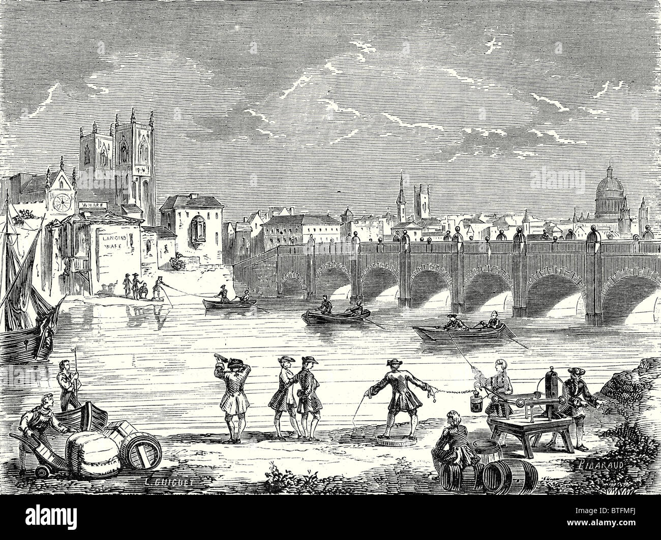 Experiment conducted in 1747 on the Thames by Martin Folcker, Cavendish and Bevis near London Bridge to measure - Stock Image