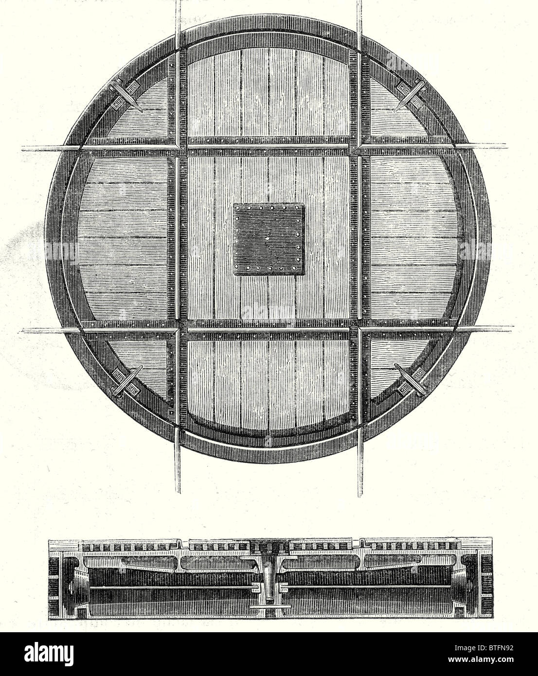 Nineteenth century railway features: Rectangular turning plate and a cross section of this plate - Stock Image