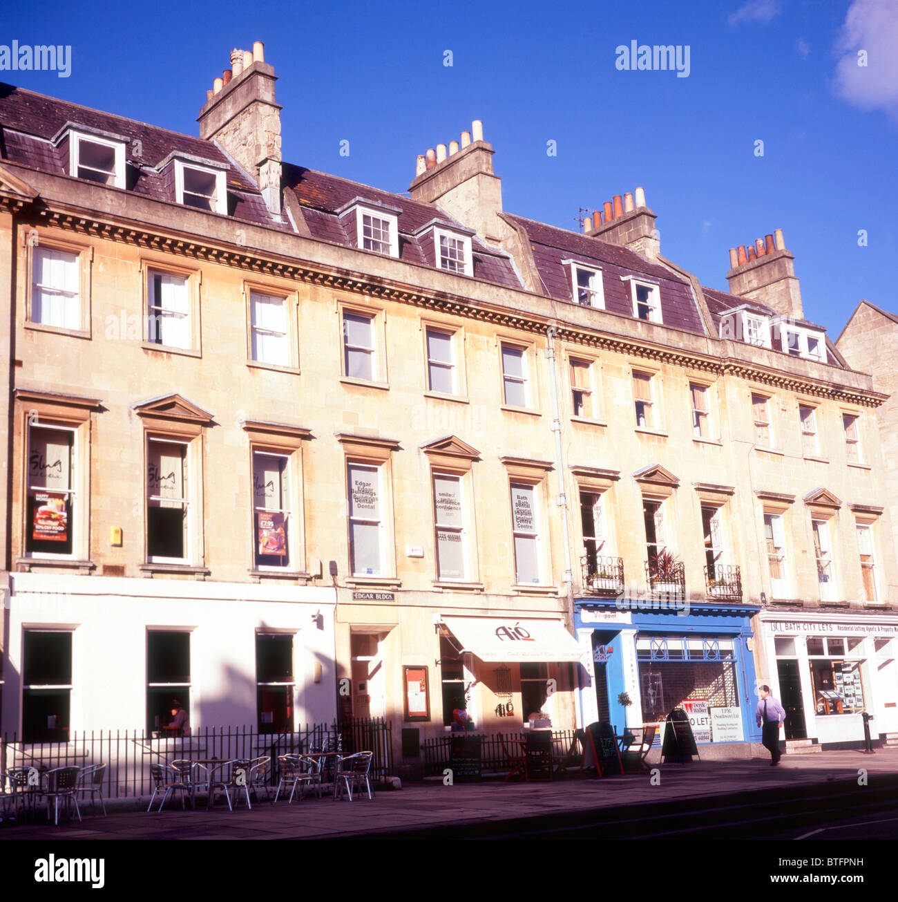 George Street Georgian buildings Bath Somerset England - Stock Image