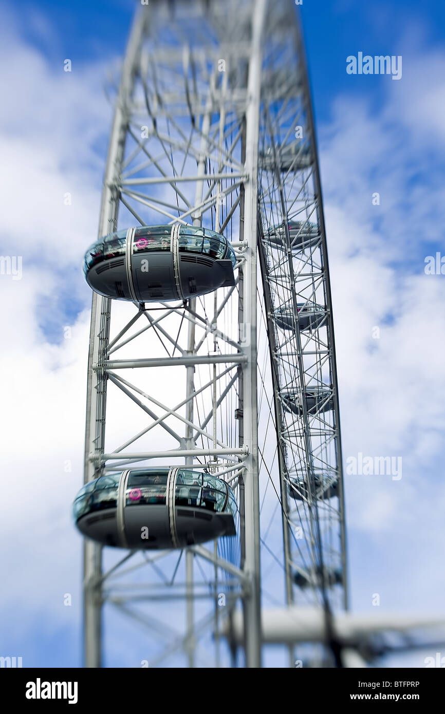 London Eye Southbank Close Up View Of Capsule In The Air With Selective Focus - Stock Image
