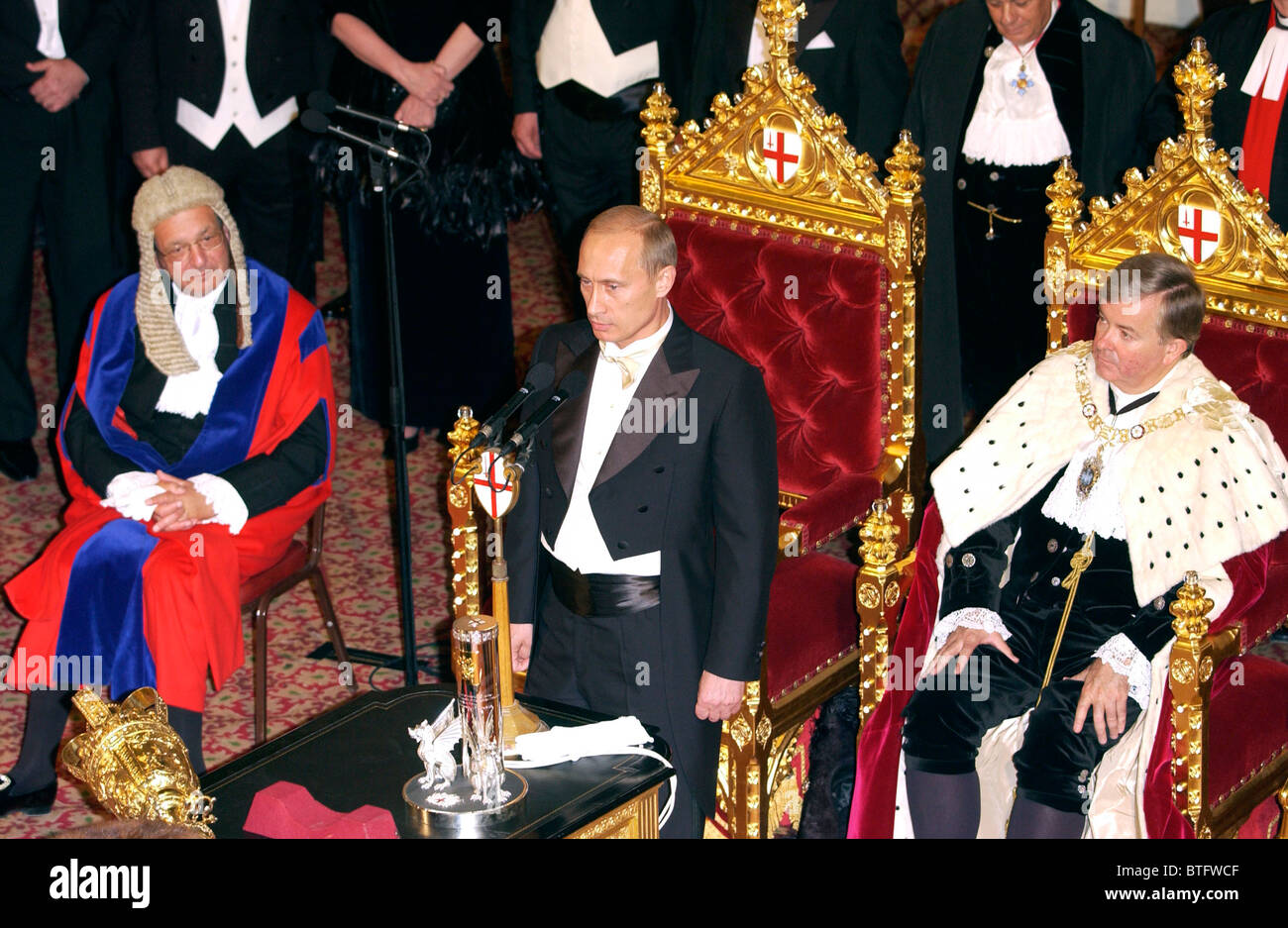 President Putin of Russian Federation Lord Mayor (right) & Aldermen of the City of London at Guildhall during - Stock Image
