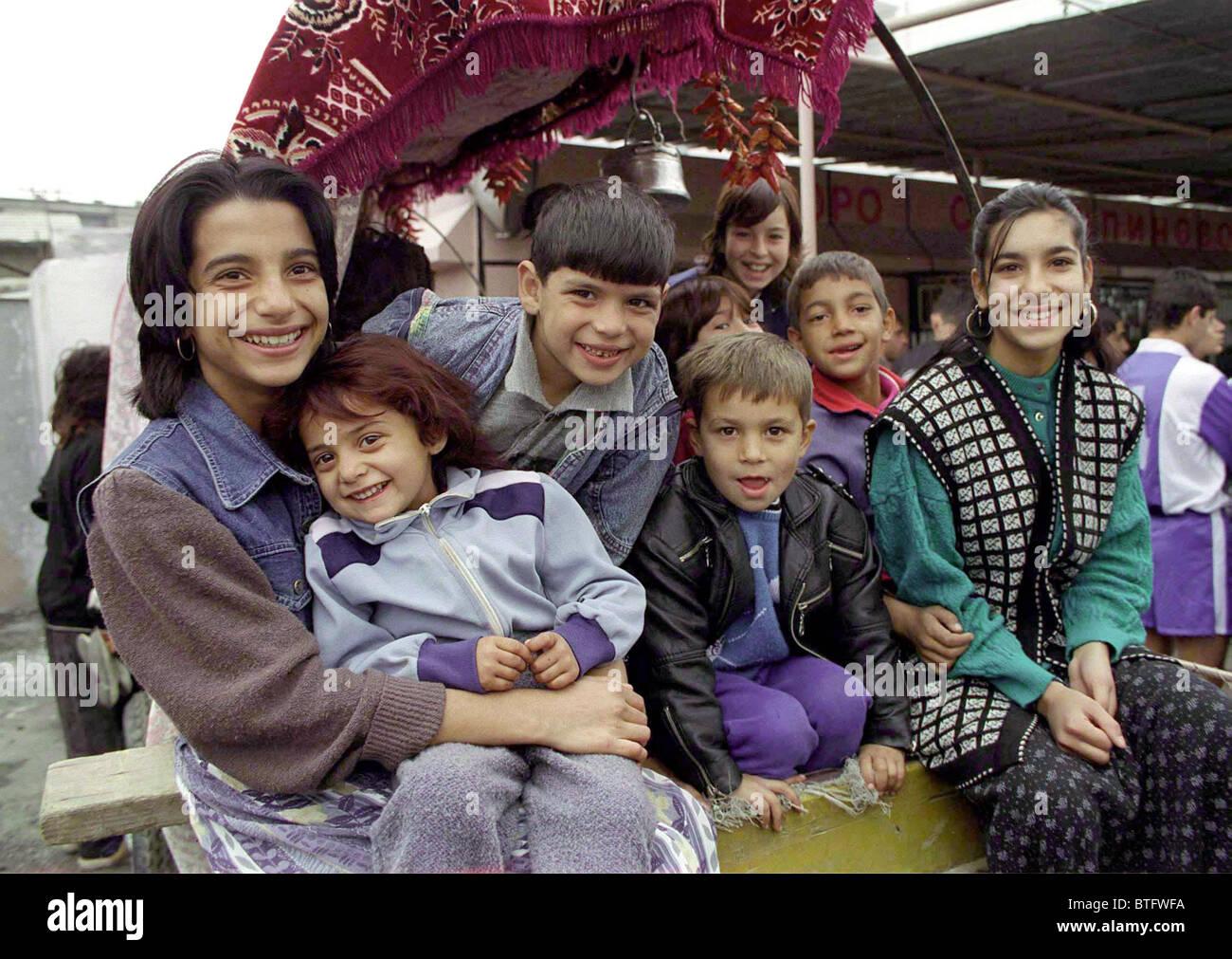 ROMA CHILDREN FROM STOLIPINOVO, BULGARIA. - Stock Image