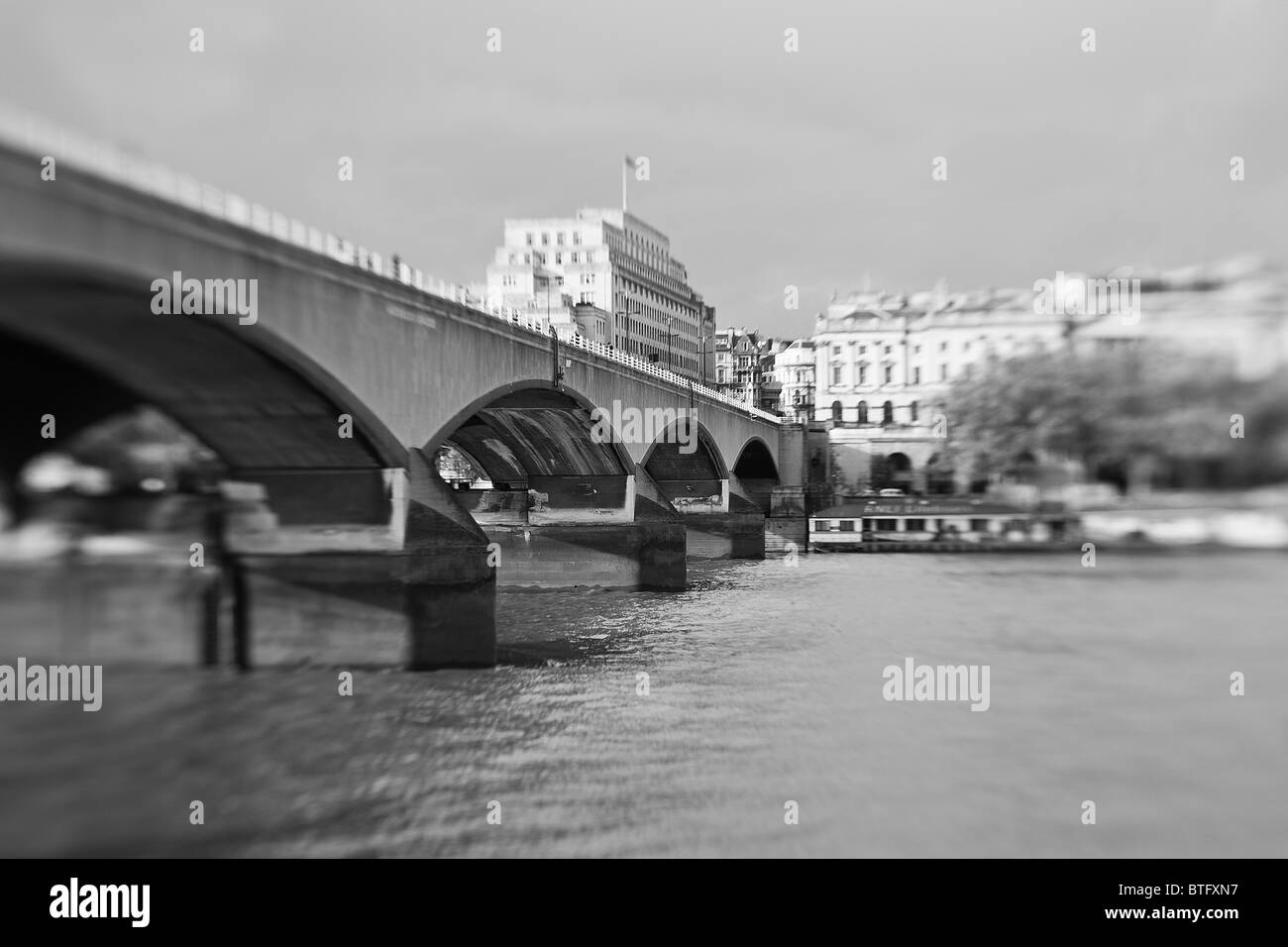 Waterloo Bridge London Across The River Thames London With Somerset House In The Background - Stock Image