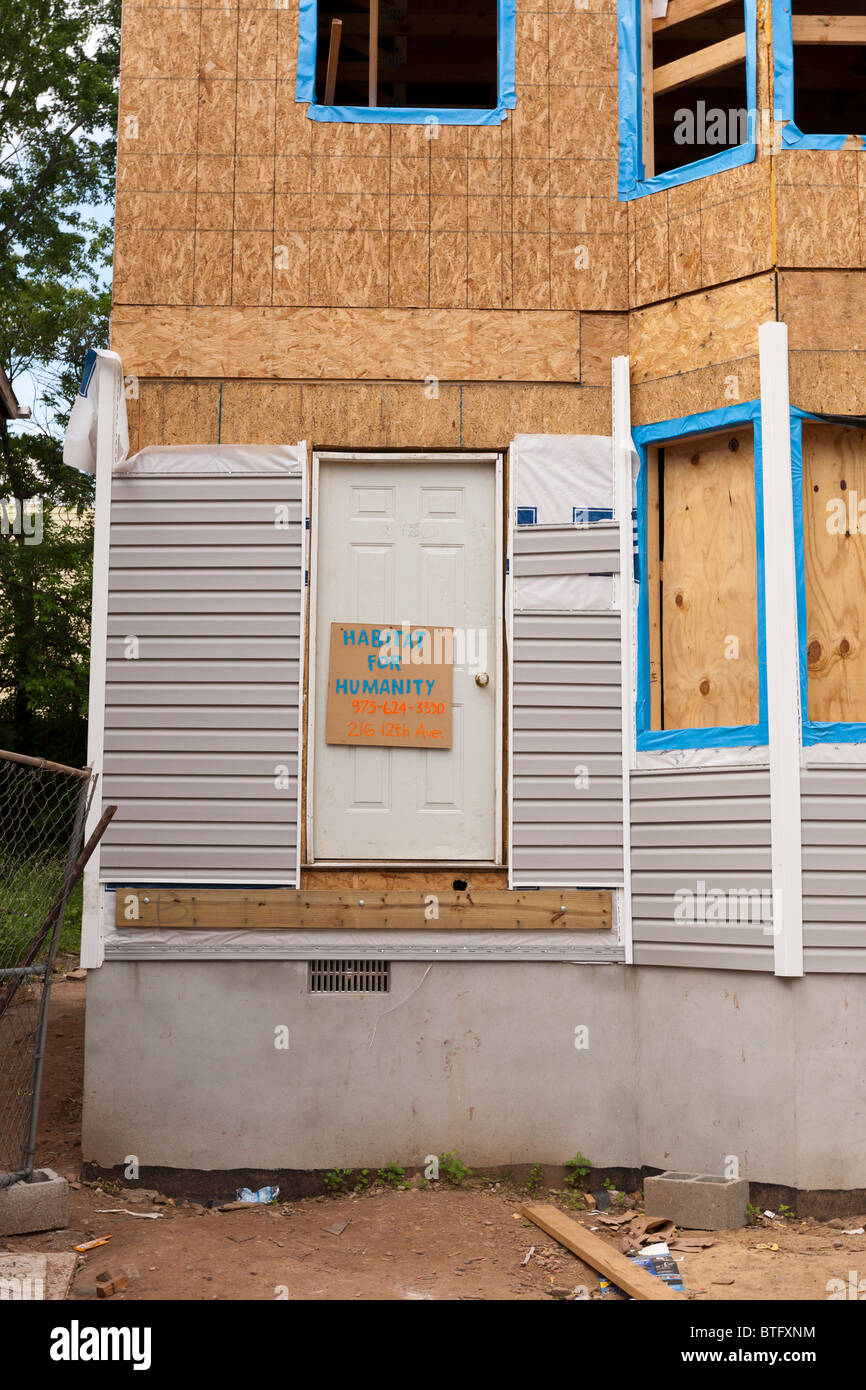 House under construction by Habitat for Humanity in Newark NJ USA - Stock Image