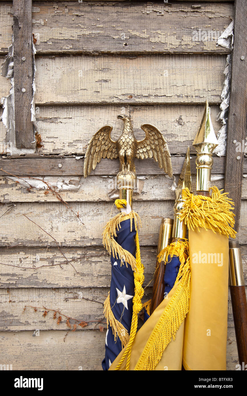 Eagles and lance point on American flag tips - Stock Image