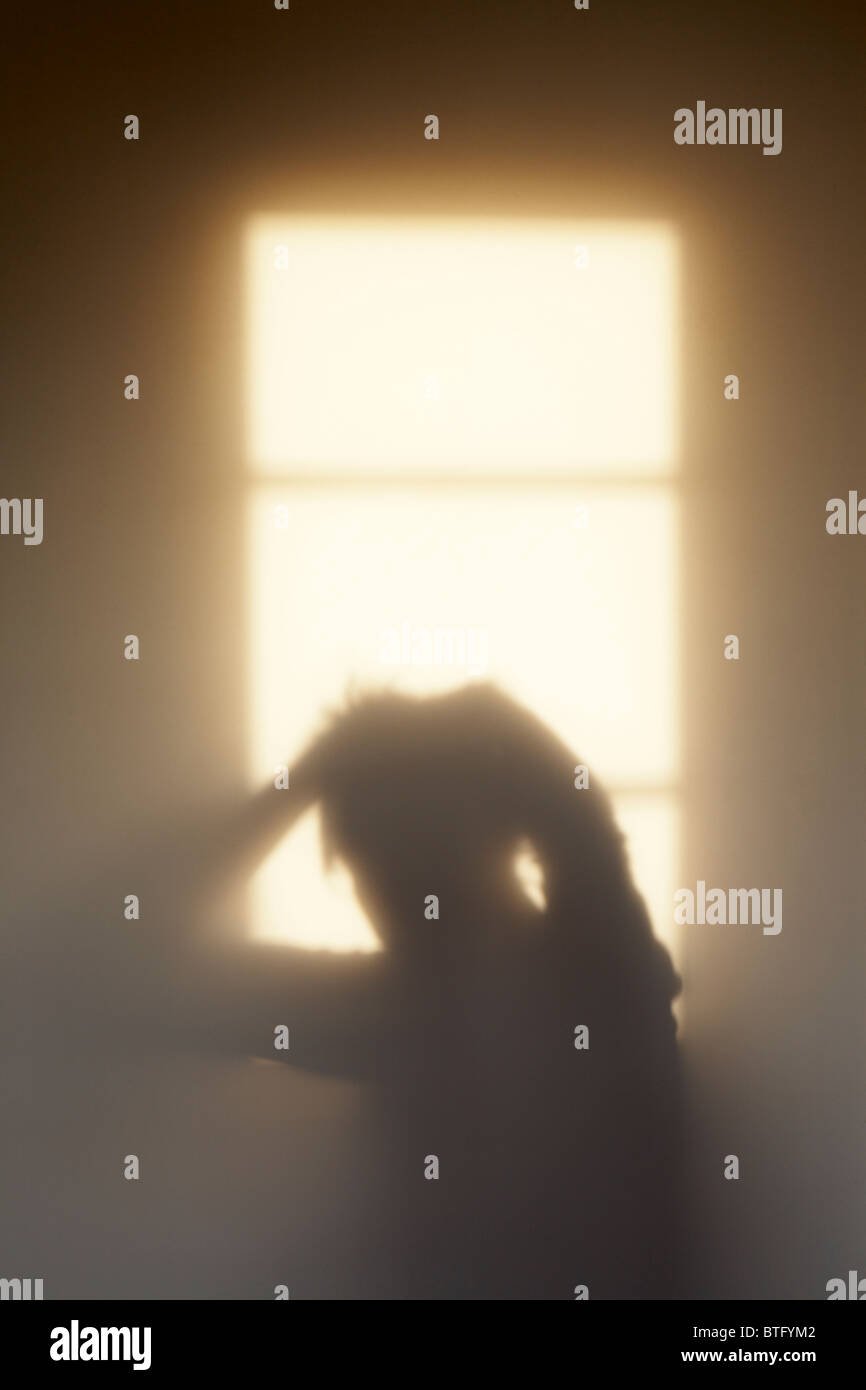 Shadow of a woman feeling the pressure, or possibly, just another bad hair day? - Stock Image