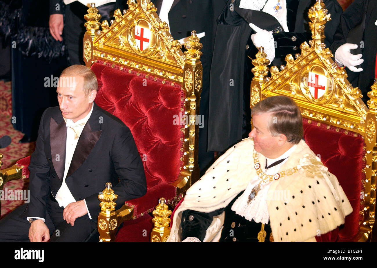 President Putin of the Russian Federation with Lord Mayor of London at banquet at Guildhall, during official visit - Stock Image