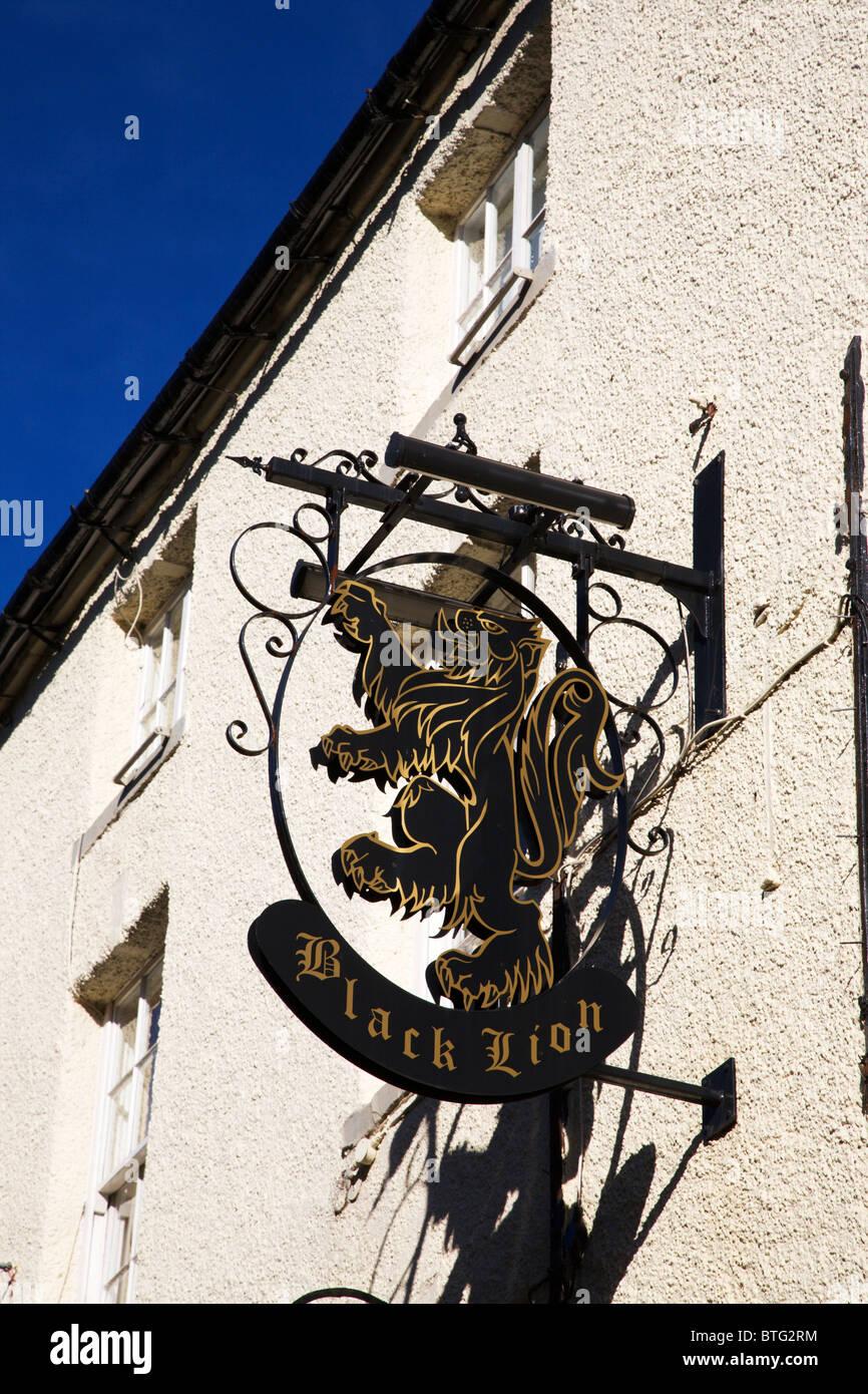 Black Lion Pub Sign on Finkle Street Richmond North Yorkshire England - Stock Image
