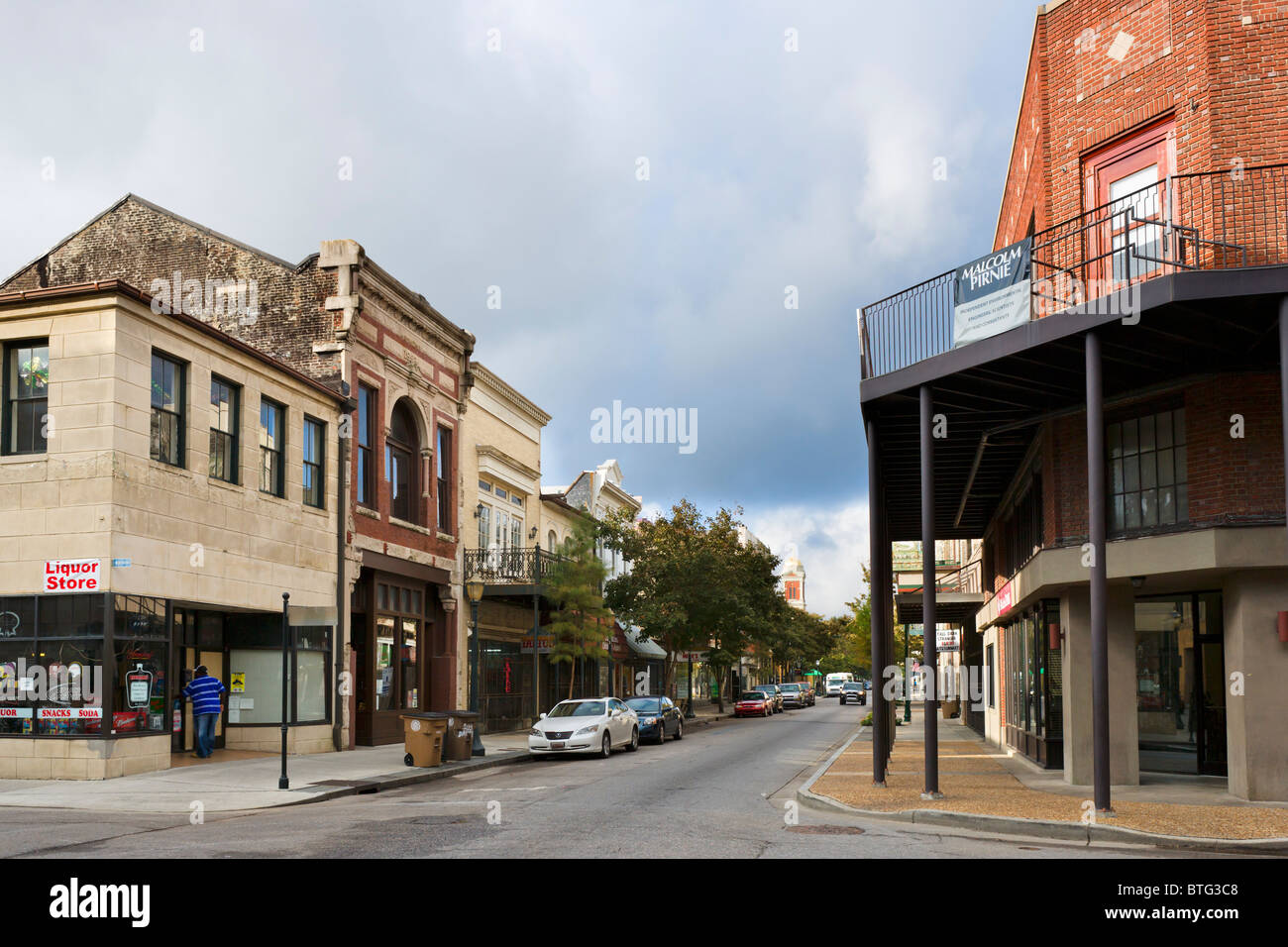 Dauphin Street in the historic old town, Mobile, Alabama, USA - Stock Image