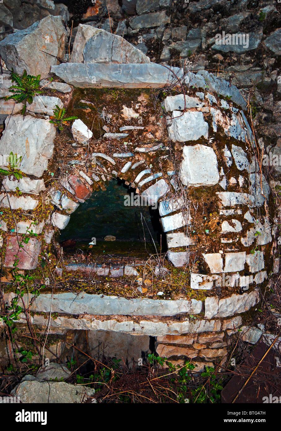 Fireplace at Old Perithia, Ionian Islands, Corfu Greece. - Stock Image
