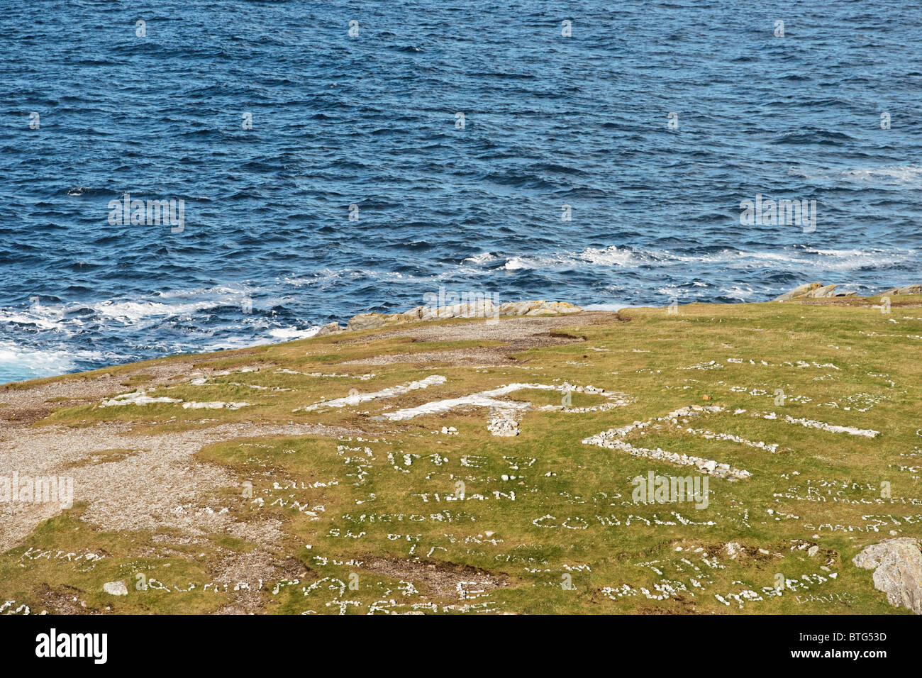 The word 'EIRE' spelled out in stones on Malin Head, Inishowen Peninsula, County Donegal, Ulster, Ireland. - Stock Image