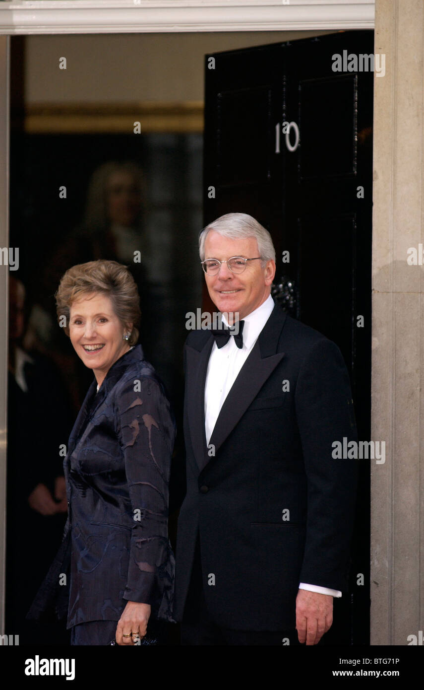 Former Prime Minister John Major and his wife Dame Norma Major arriving at number 10 Downing Street for Prime Ministers' - Stock Image