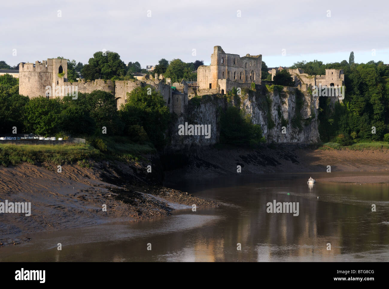 Chepstow Castle and the River Wye, in Chepstow, Monmouthshire, Wales - Stock Image