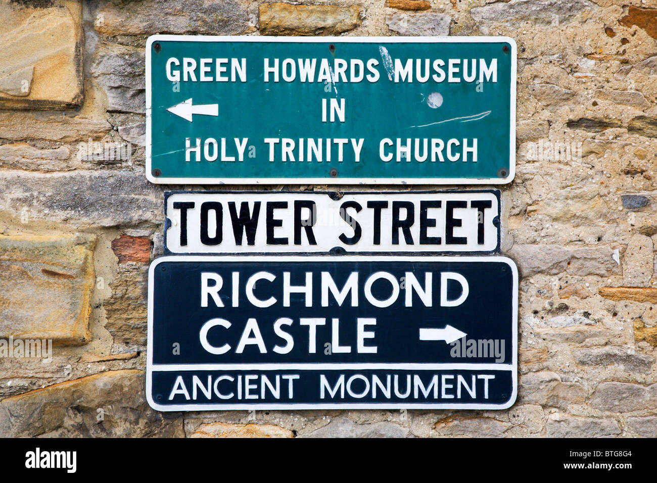 Tower Street Signs Richmond North Yorkshire England - Stock Image