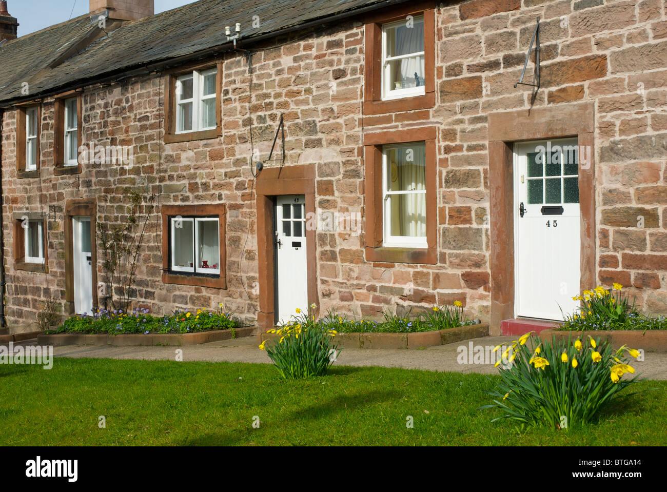 Old sandstone houses on Bondgate, Appleby Cumbria England UK - Stock Image