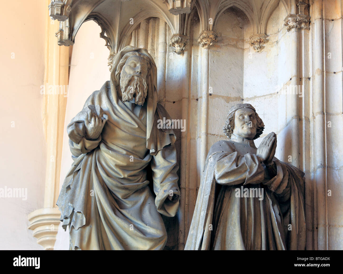 Portal of monastery church in Chartreuse de Champmol with sculpture by Claus Sluter, Côte-d'Or departement, - Stock Image