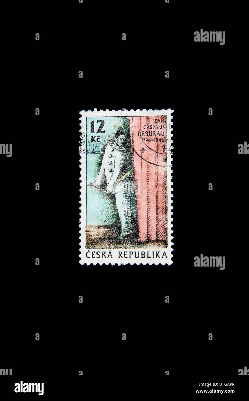 Jean  Gaspard Deburau in a Czech stamp - Stock Image