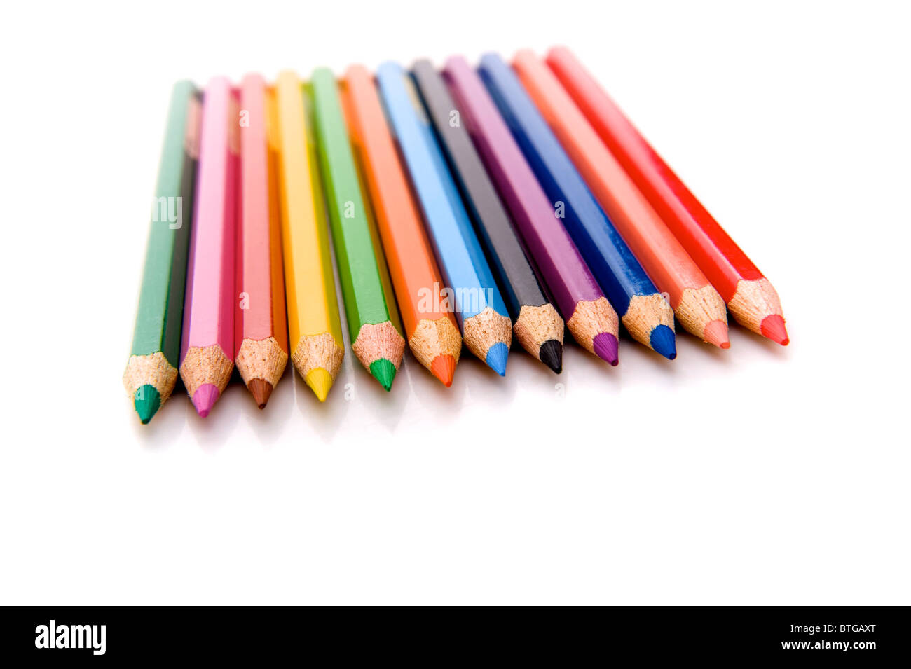 row of the colored pencils - Stock Image