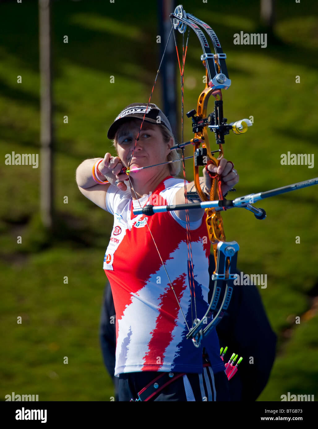Andrea Gales  Uk Archer with Compound Bow, Archery World Cup event, Edinburgh, Scotland UK, Europe - Stock Image
