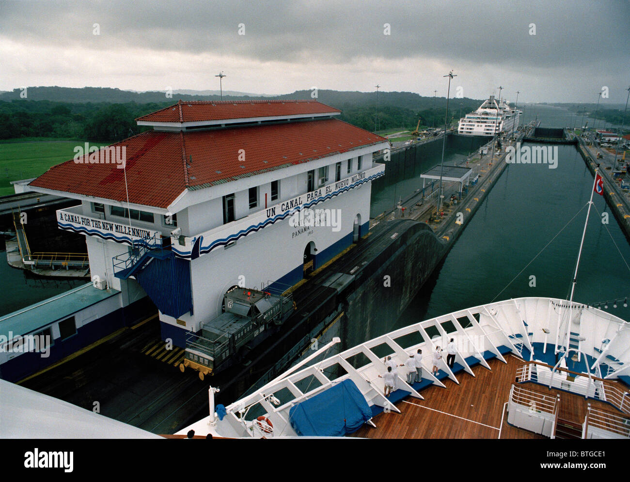 Gatun Lock in the Panama Canal December 1999 before United States returned sovereignty to Panama. © Craig M. - Stock Image