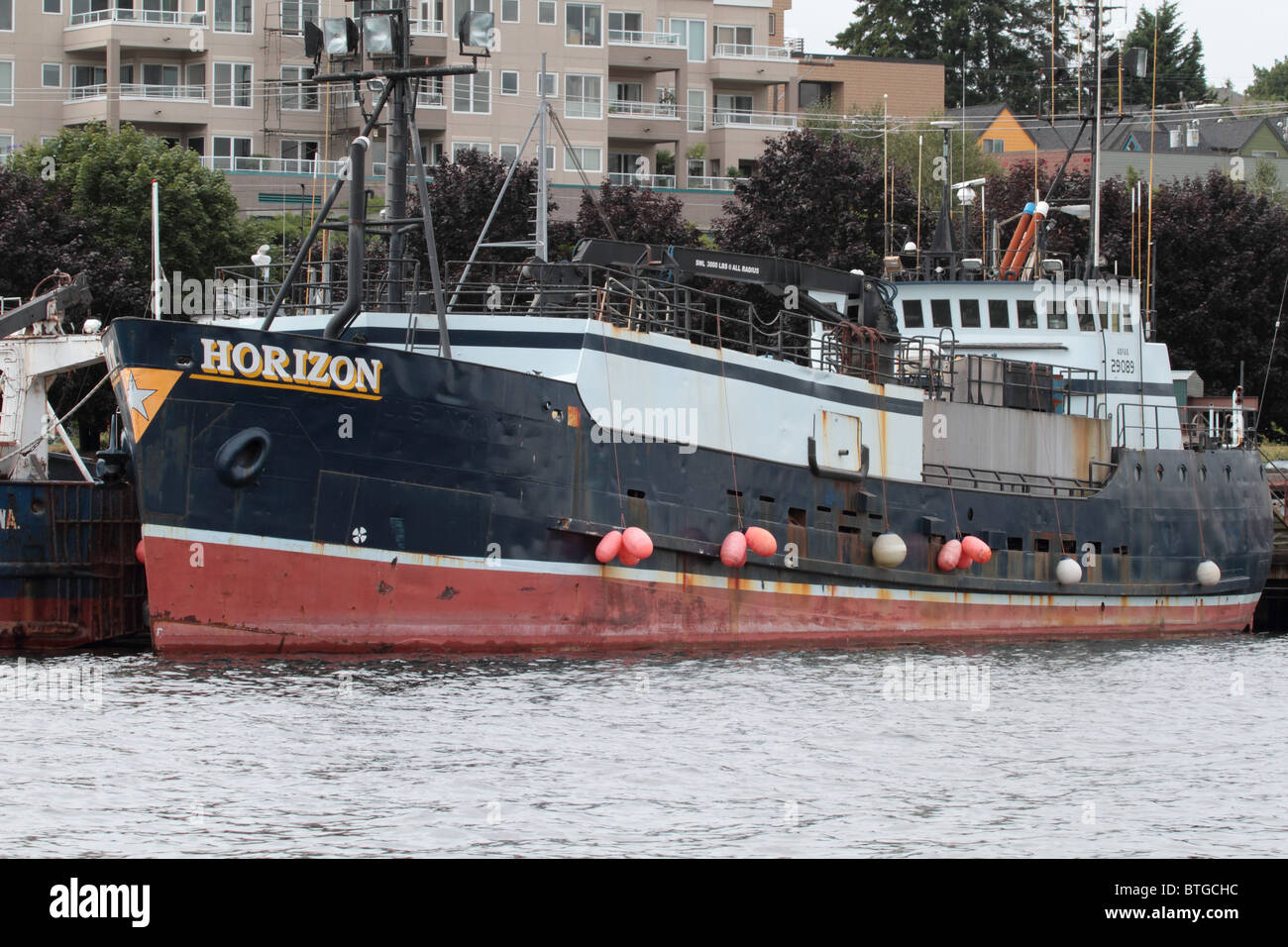 Fishing boat Horizon moored in the Ship canal between Lake Union and Lake Washington in Seattle - Stock Image