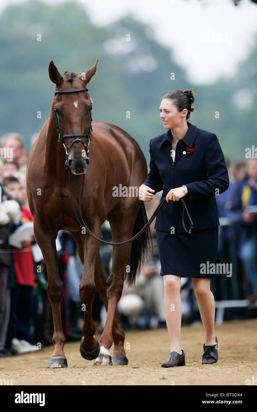 Rider, Jeanette Brakewell trots up horse 'Over to You' at vet inspection at Blenheim FEI Petplan European - Stock Image