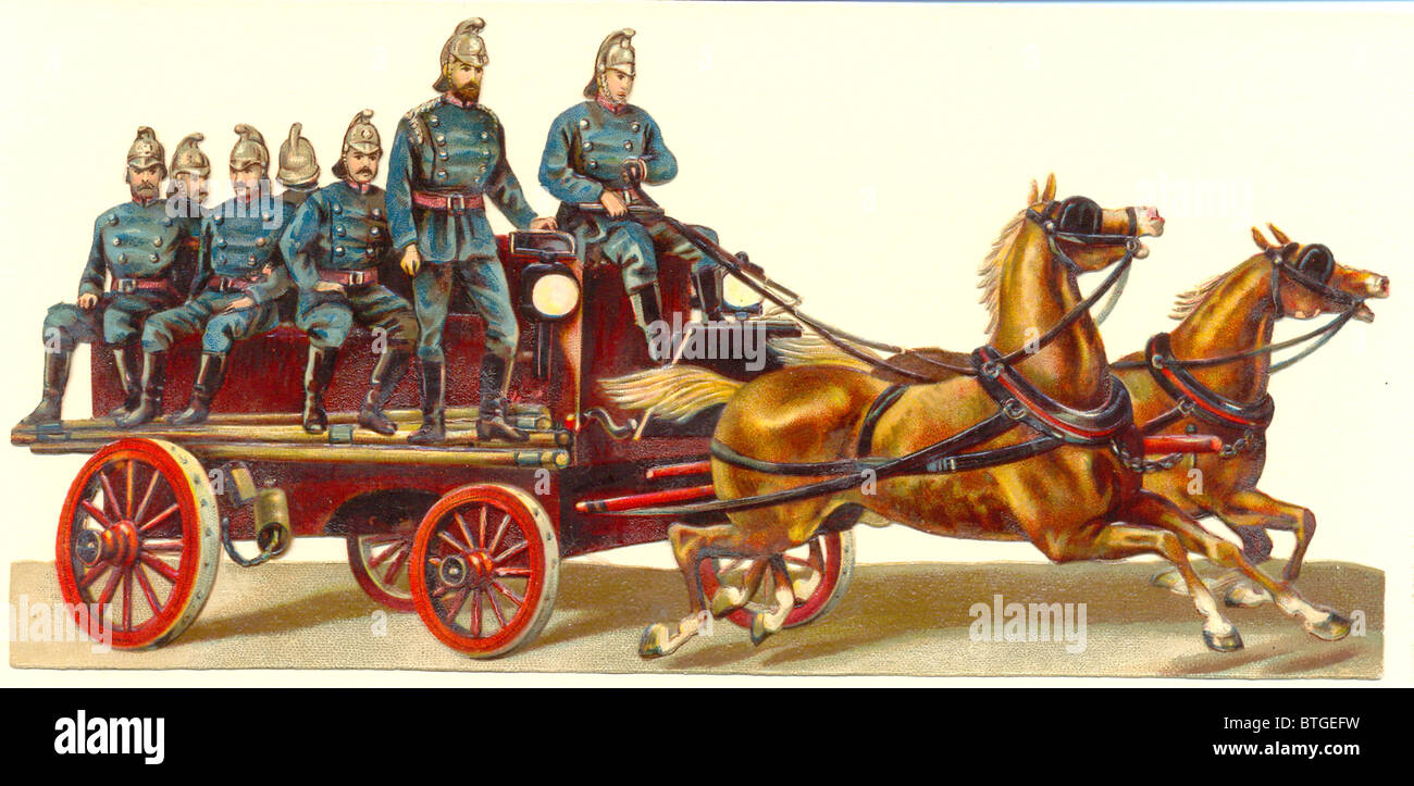 horse drawn fire engine and crew - Stock Image