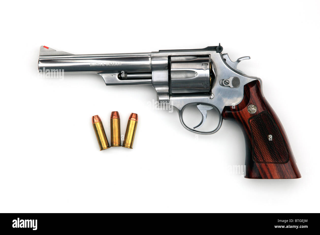 A .44 magnum revolver, the same type as used in the 'Dirty Harry' movies except this one is made in stainless - Stock Image