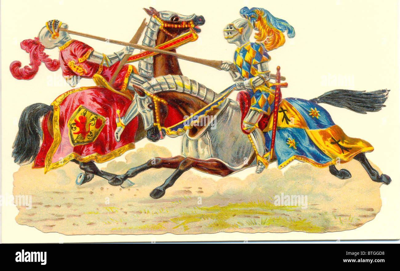 die cut scrap of medieval knights jousting stock photo 32326260 alamy