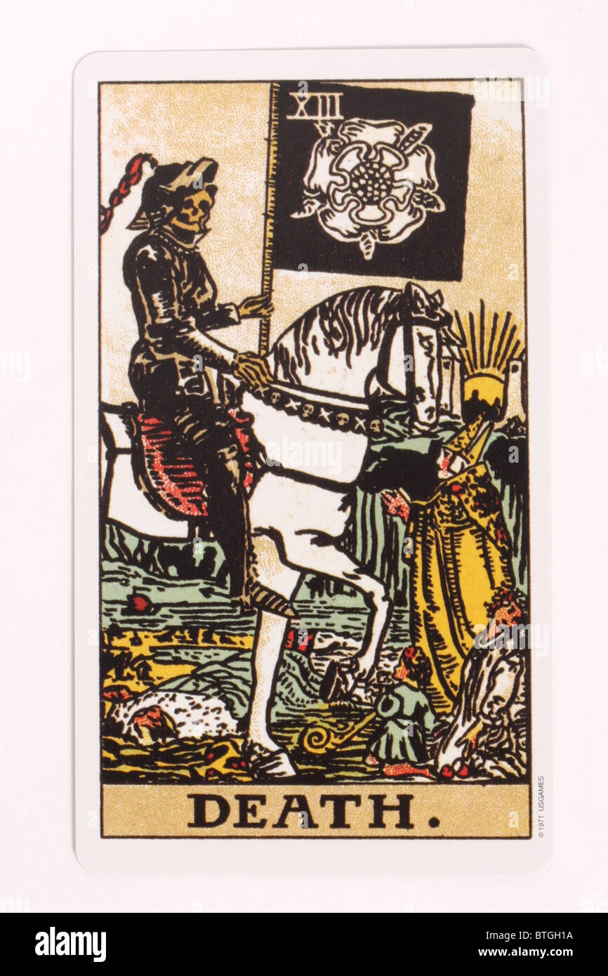 The Death card in a tarot pack. - Stock Image