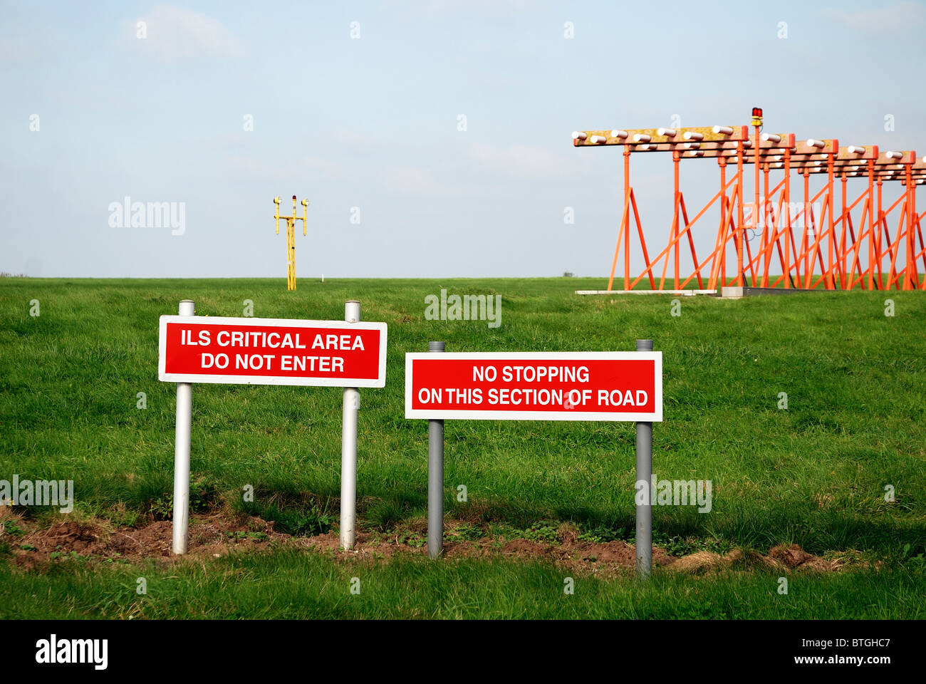 airport landing area restricted access east midland airport england uk - Stock Image