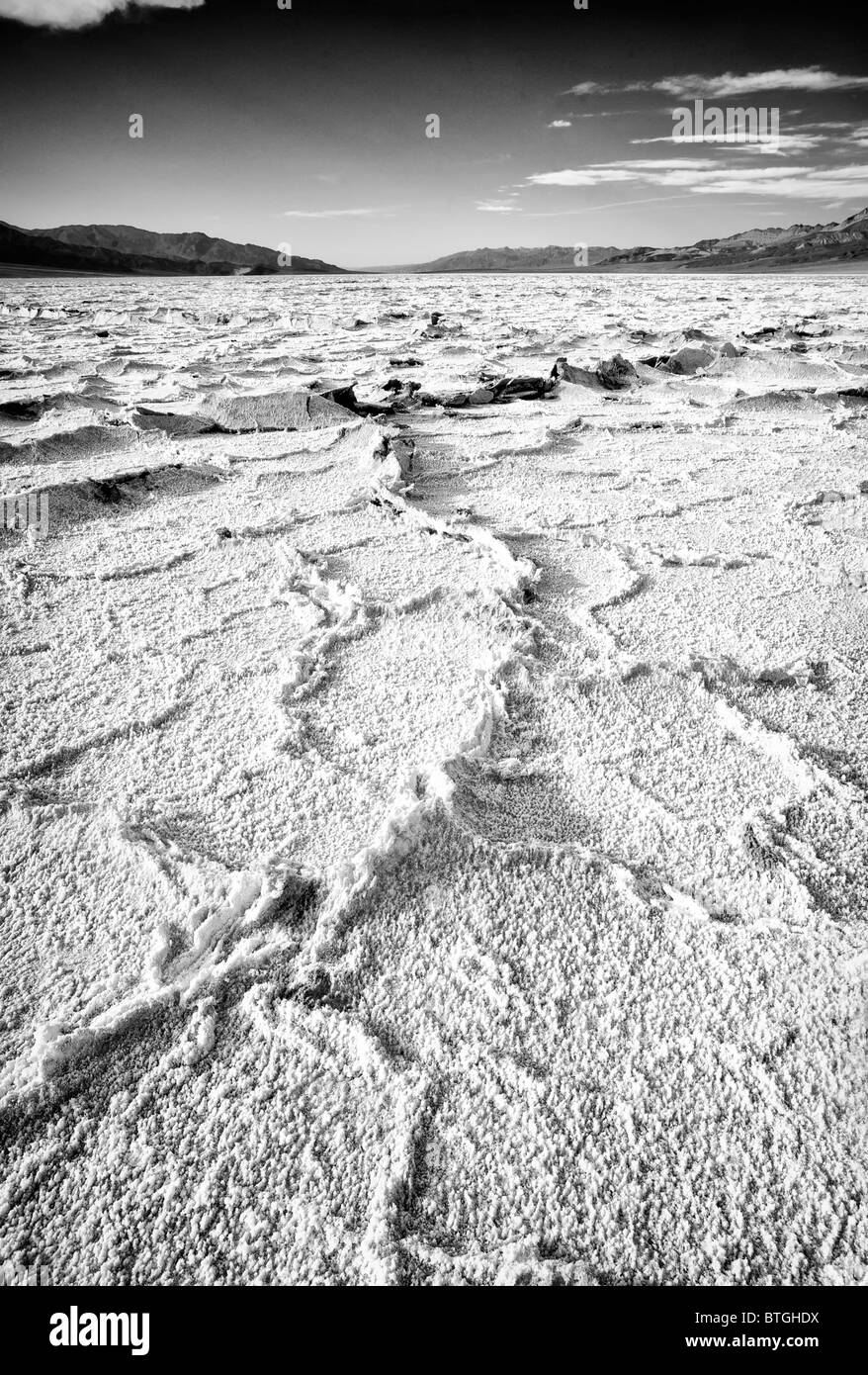 Salt flats as Badwater, Death Valley, USA Stock Photo