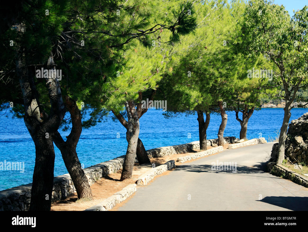 Promenade in Valun village on Cres Island, Croatia Stock Photo