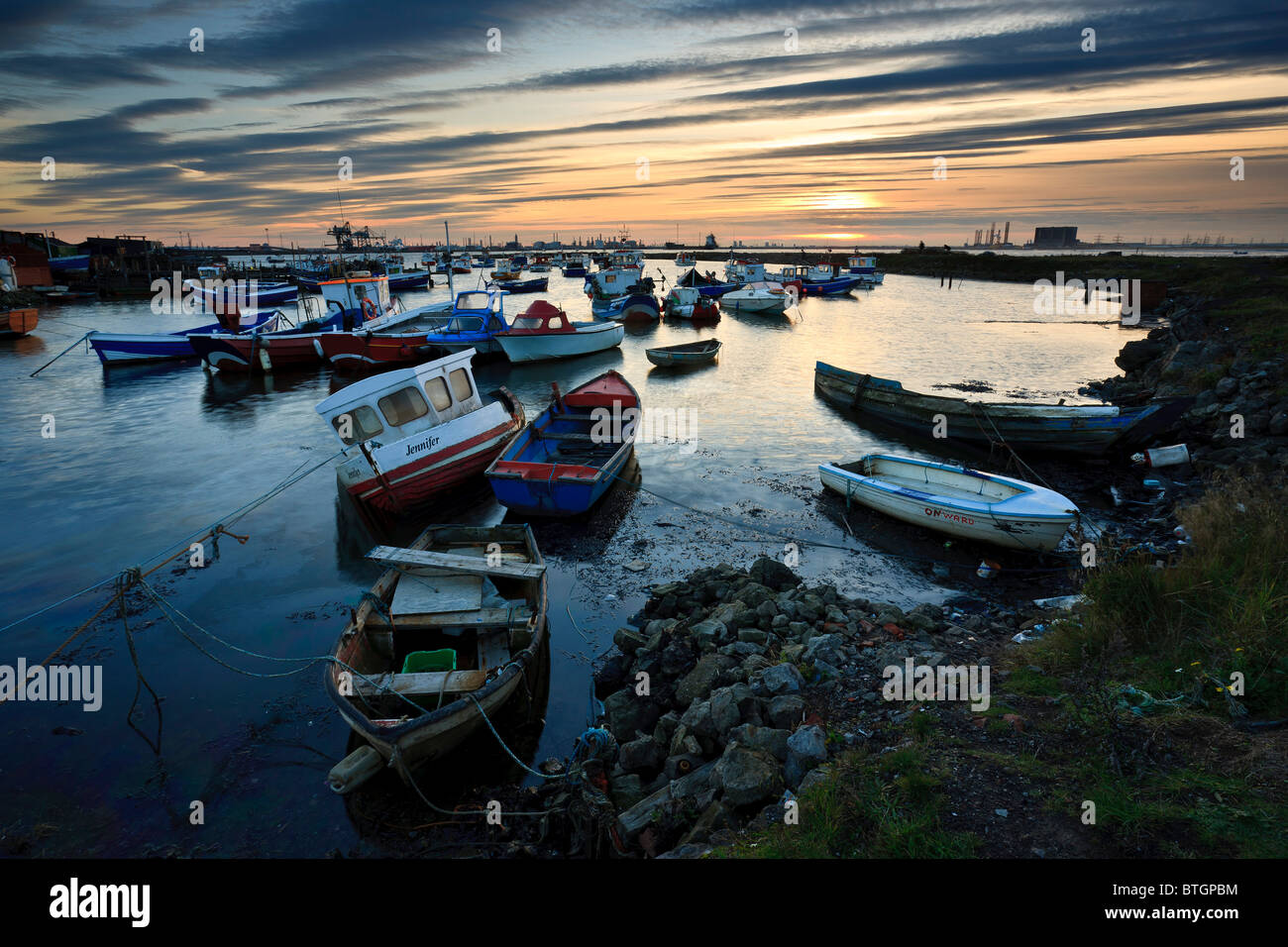 October sunset at Paddy's Hole, South Gare, Teesmouth - Stock Image